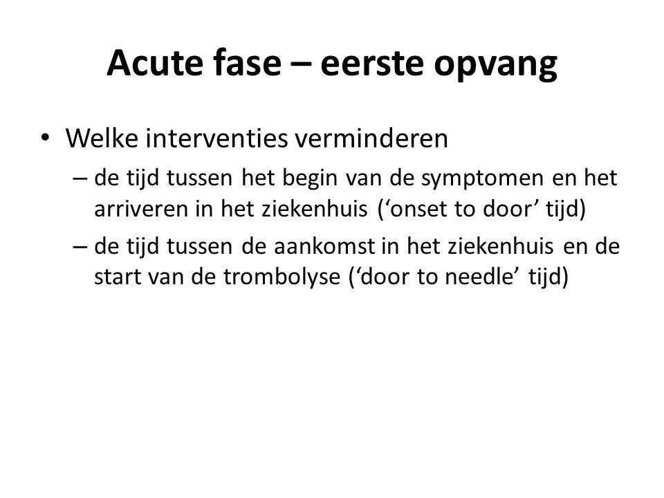 Acute fase – eerste opvang Welke interventies verminderen – de tijd tussen het begin van de symptomen en het arriveren in het ziekenhuis ('onset to door' tijd) – de tijd tussen de aankomst in het ziekenhuis en de start van de trombolyse ('door to needle' tijd)