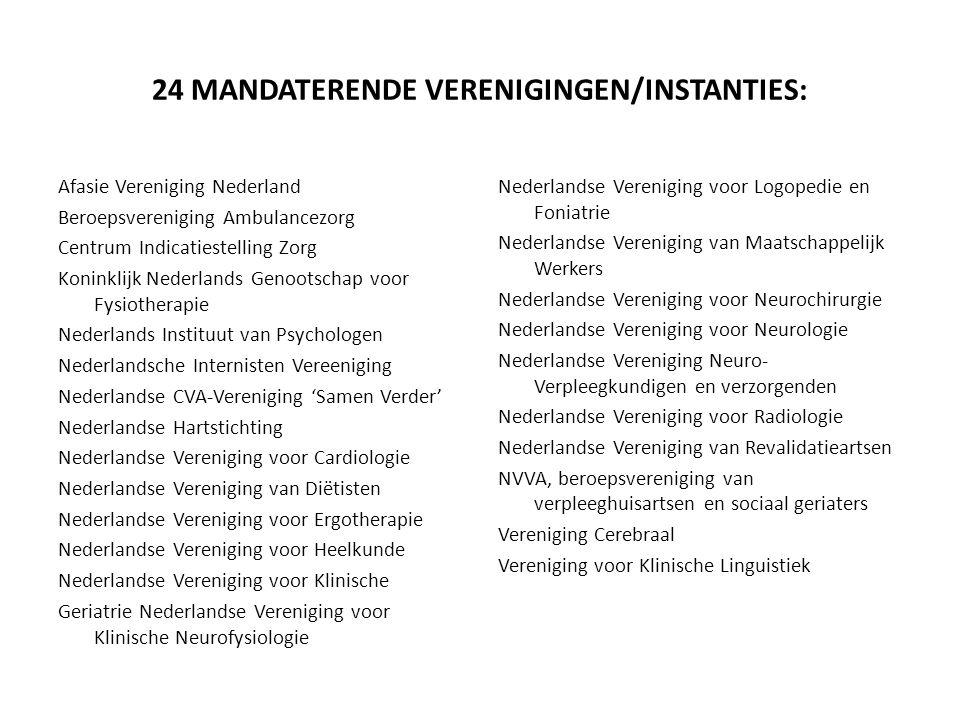 24 MANDATERENDE VERENIGINGEN/INSTANTIES: Afasie Vereniging Nederland Beroepsvereniging Ambulancezorg Centrum Indicatiestelling Zorg Koninklijk Nederla