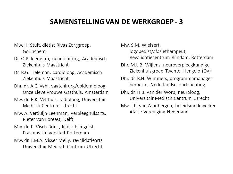 SAMENSTELLING VAN DE WERKGROEP - 3 Mw. H. Stuit, diëtist Rivas Zorggroep, Gorinchem Dr. O.P. Teernstra, neurochirurg, Academisch Ziekenhuis Maastricht