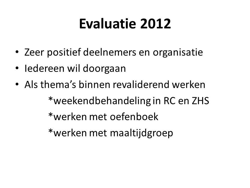 Evaluatie 2012 Zeer positief deelnemers en organisatie Iedereen wil doorgaan Als thema's binnen revaliderend werken *weekendbehandeling in RC en ZHS *werken met oefenboek *werken met maaltijdgroep