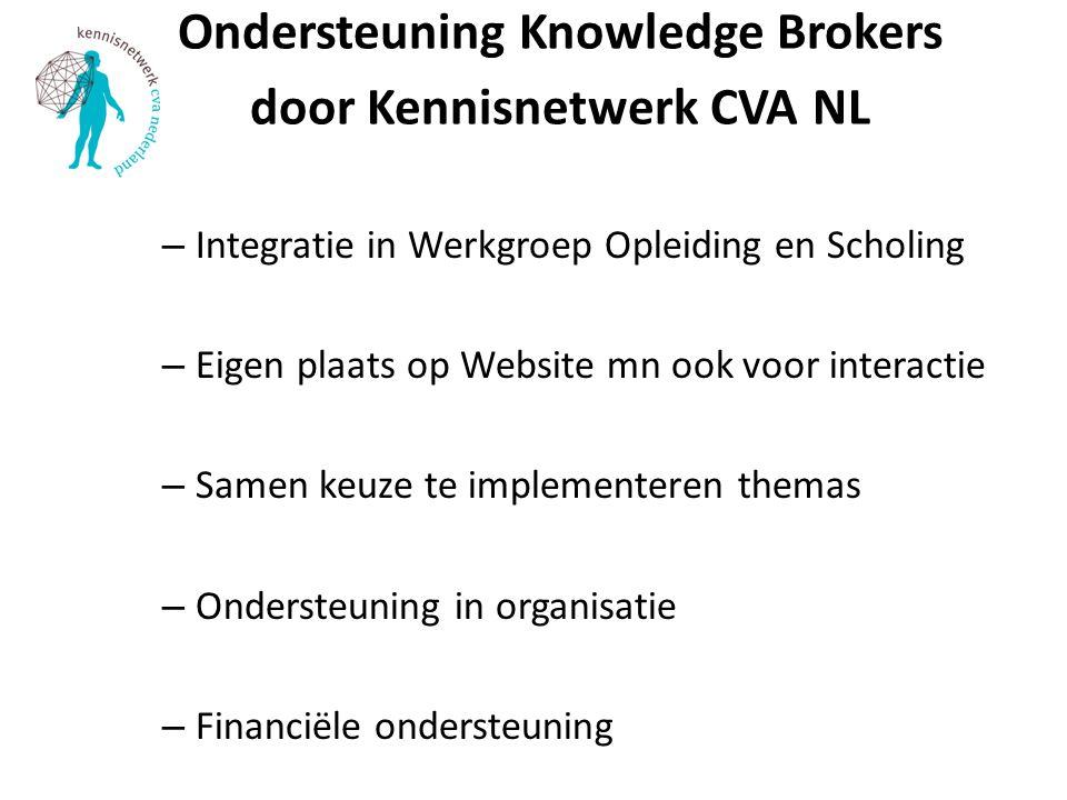 Ondersteuning Knowledge Brokers door Kennisnetwerk CVA NL – Integratie in Werkgroep Opleiding en Scholing – Eigen plaats op Website mn ook voor interactie – Samen keuze te implementeren themas – Ondersteuning in organisatie – Financiële ondersteuning