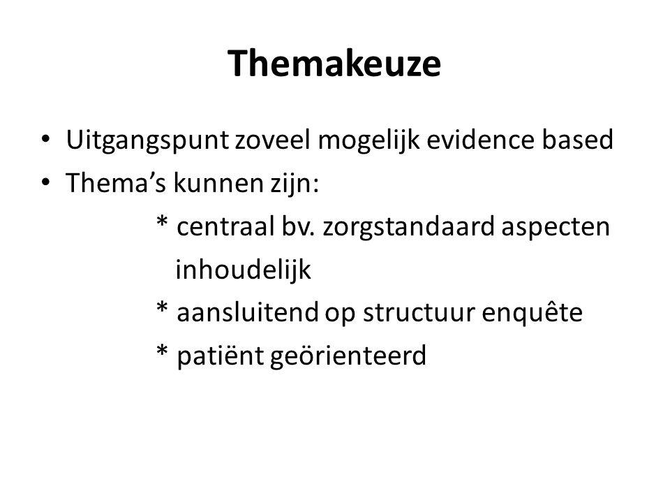 Themakeuze Uitgangspunt zoveel mogelijk evidence based Thema's kunnen zijn: * centraal bv.