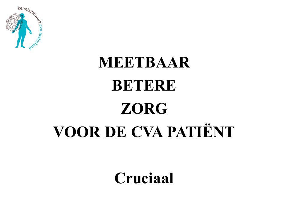 MEETBAAR BETERE ZORG VOOR DE CVA PATIËNT Cruciaal