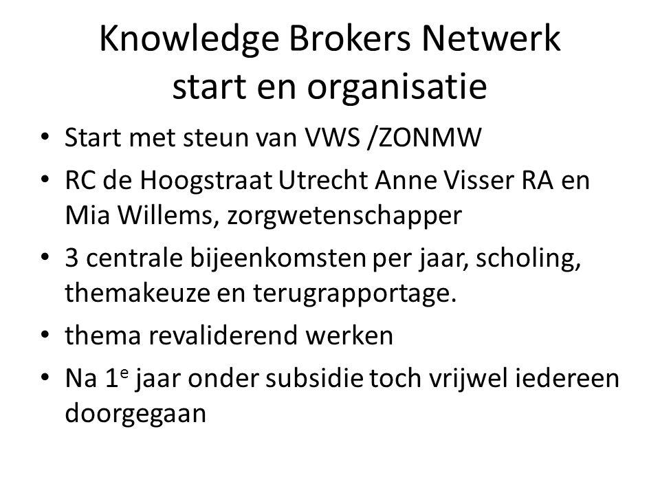 Knowledge Brokers Netwerk start en organisatie Start met steun van VWS /ZONMW RC de Hoogstraat Utrecht Anne Visser RA en Mia Willems, zorgwetenschapper 3 centrale bijeenkomsten per jaar, scholing, themakeuze en terugrapportage.