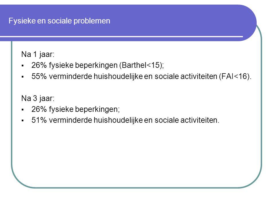 Fysieke en sociale problemen Na 1 jaar:  26% fysieke beperkingen (Barthel<15);  55% verminderde huishoudelijke en sociale activiteiten (FAI<16). Na