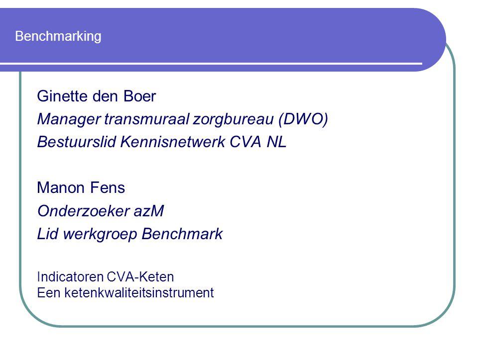 Benchmarking Ginette den Boer Manager transmuraal zorgbureau (DWO) Bestuurslid Kennisnetwerk CVA NL Manon Fens Onderzoeker azM Lid werkgroep Benchmark