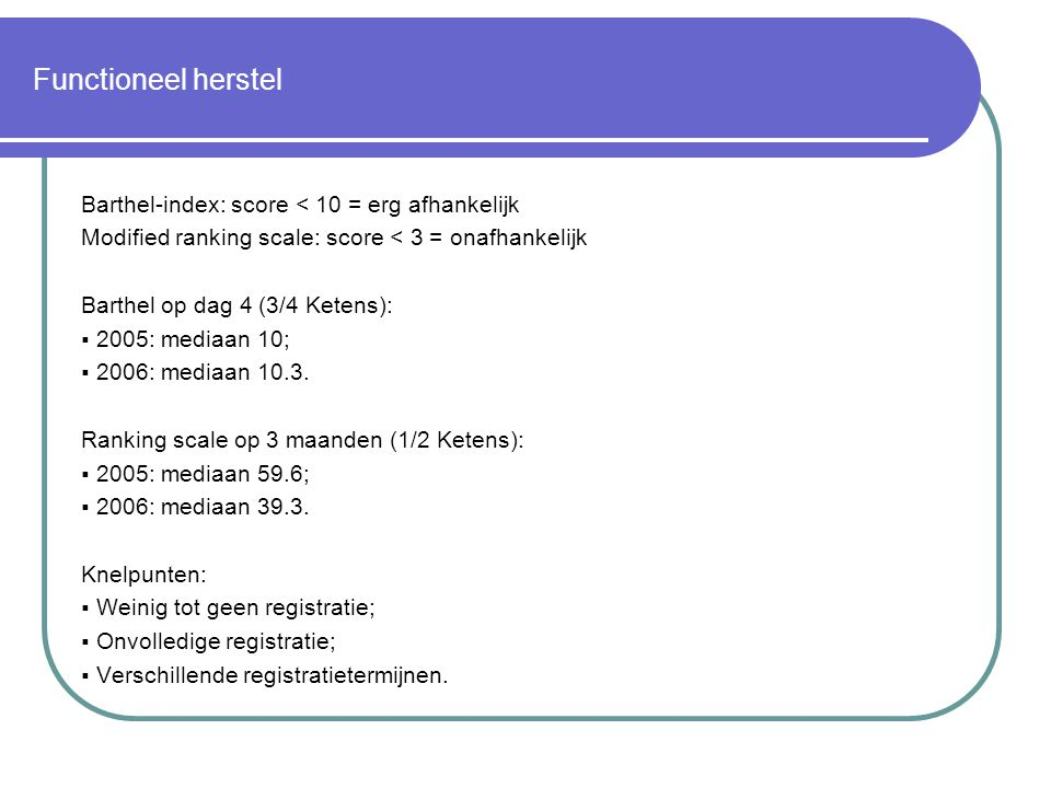 Functioneel herstel Barthel-index: score < 10 = erg afhankelijk Modified ranking scale: score < 3 = onafhankelijk Barthel op dag 4 (3/4 Ketens):  2005: mediaan 10;  2006: mediaan 10.3.