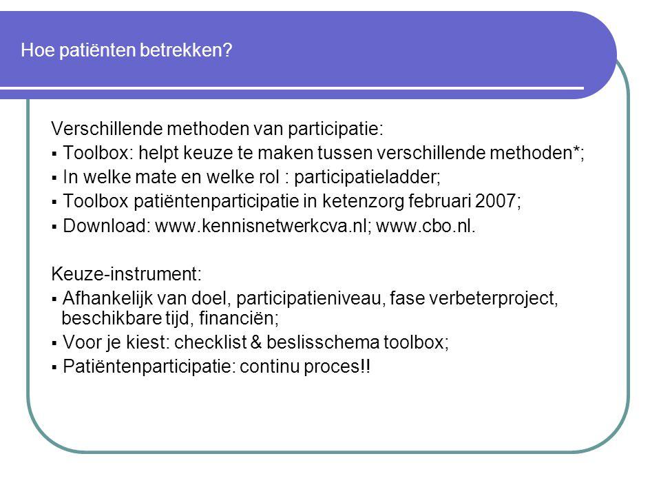 Hoe patiënten betrekken? Verschillende methoden van participatie:  Toolbox: helpt keuze te maken tussen verschillende methoden*;  In welke mate en w