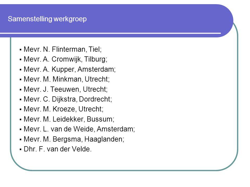 Samenstelling werkgroep  Mevr.N. Flinterman, Tiel;  Mevr.