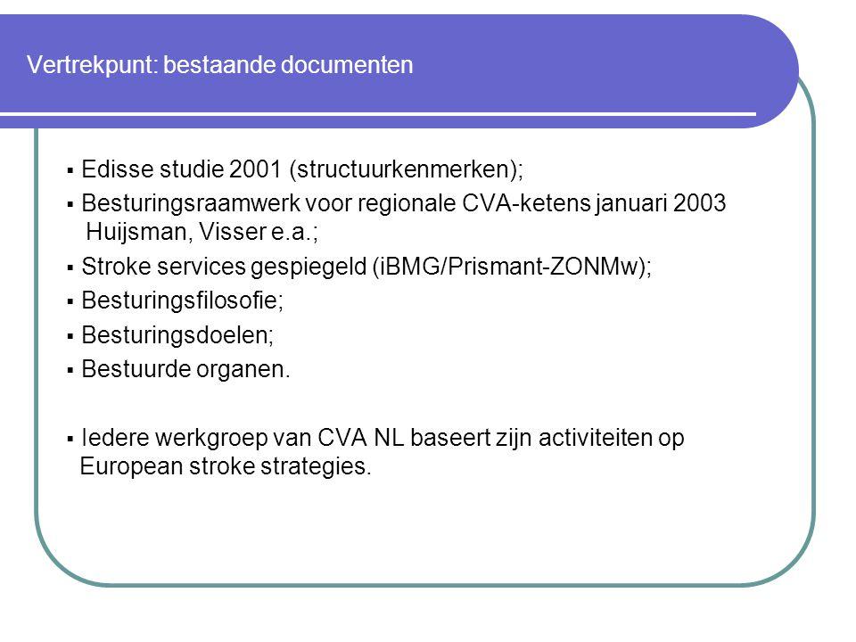 Vertrekpunt: bestaande documenten  Edisse studie 2001 (structuurkenmerken);  Besturingsraamwerk voor regionale CVA-ketens januari 2003 Huijsman, Visser e.a.;  Stroke services gespiegeld (iBMG/Prismant-ZONMw);  Besturingsfilosofie;  Besturingsdoelen;  Bestuurde organen.