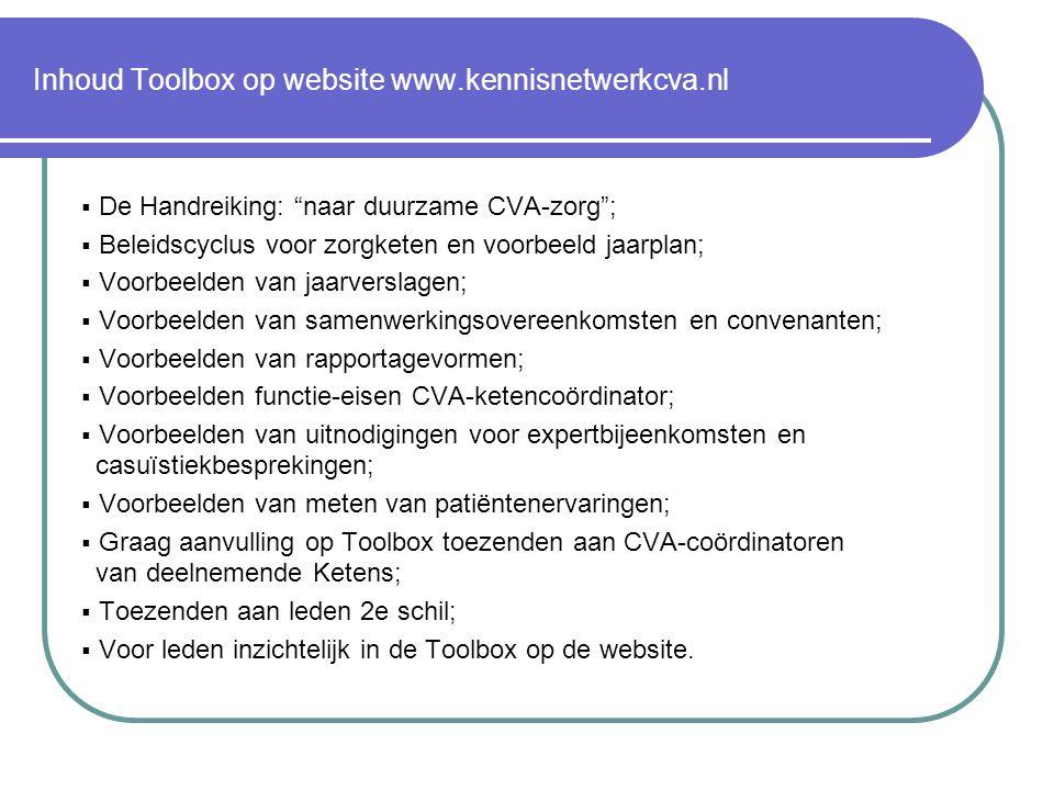 Inhoud Toolbox op website www.kennisnetwerkcva.nl  De Handreiking: naar duurzame CVA-zorg ;  Beleidscyclus voor zorgketen en voorbeeld jaarplan;  Voorbeelden van jaarverslagen;  Voorbeelden van samenwerkingsovereenkomsten en convenanten;  Voorbeelden van rapportagevormen;  Voorbeelden functie-eisen CVA-ketencoördinator;  Voorbeelden van uitnodigingen voor expertbijeenkomsten en casuïstiekbesprekingen;  Voorbeelden van meten van patiëntenervaringen;  Graag aanvulling op Toolbox toezenden aan CVA-coördinatoren van deelnemende Ketens;  Toezenden aan leden 2e schil;  Voor leden inzichtelijk in de Toolbox op de website.