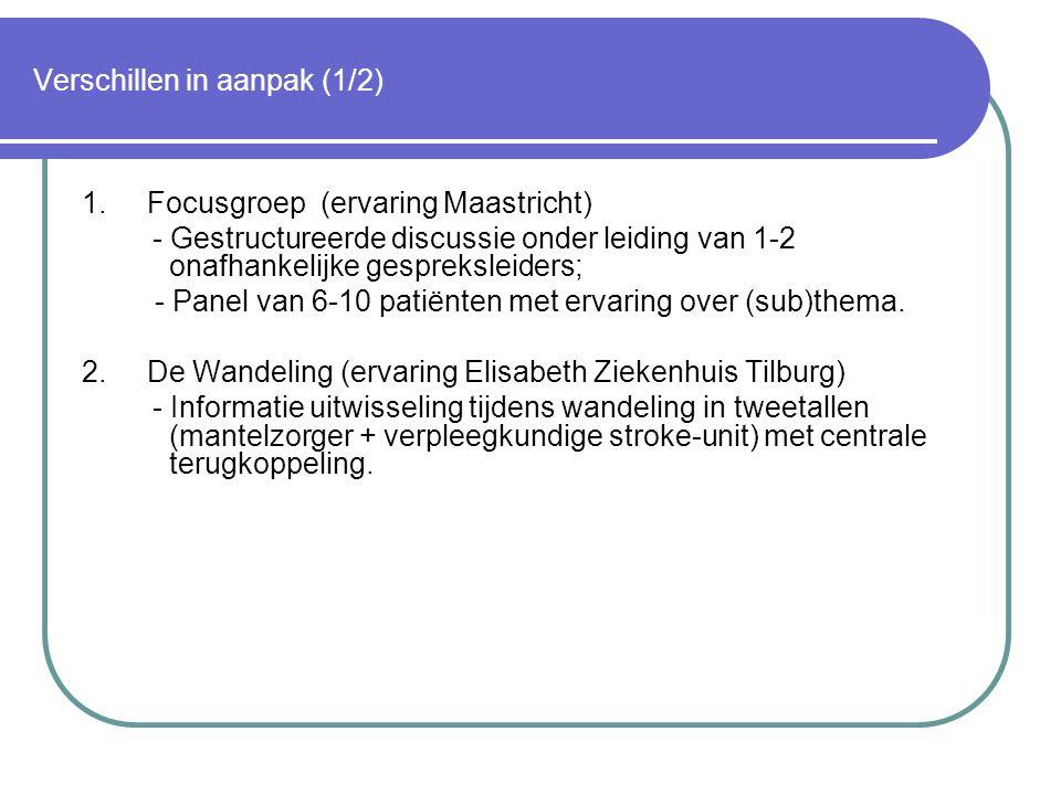 Verschillen in aanpak (1/2) 1. Focusgroep (ervaring Maastricht) - Gestructureerde discussie onder leiding van 1-2 onafhankelijke gespreksleiders; - Pa