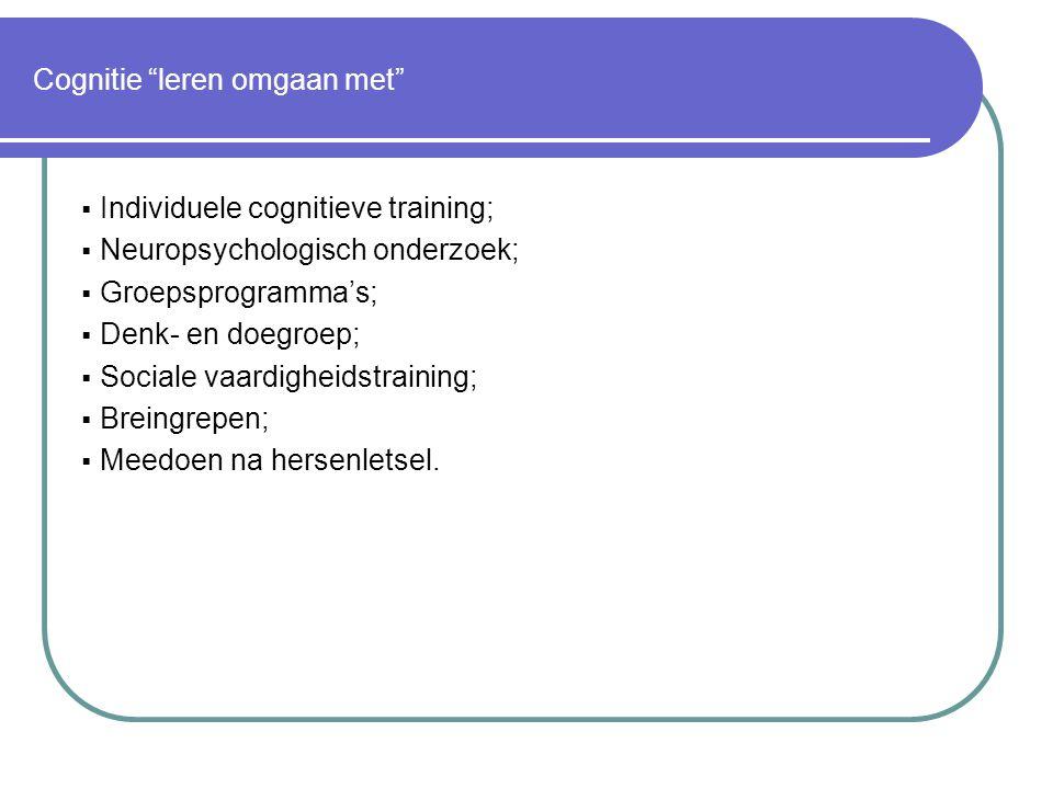 Cognitie leren omgaan met  Individuele cognitieve training;  Neuropsychologisch onderzoek;  Groepsprogramma's;  Denk- en doegroep;  Sociale vaardigheidstraining;  Breingrepen;  Meedoen na hersenletsel.