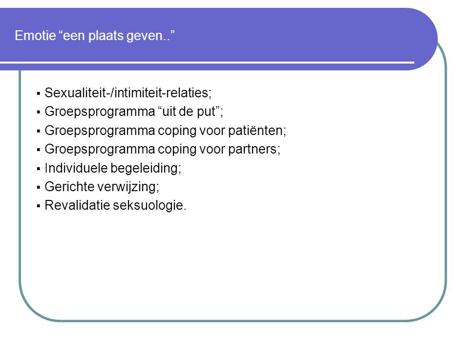 """Emotie """"een plaats geven..""""  Sexualiteit-/intimiteit-relaties;  Groepsprogramma """"uit de put"""";  Groepsprogramma coping voor patiënten;  Groepsprogr"""