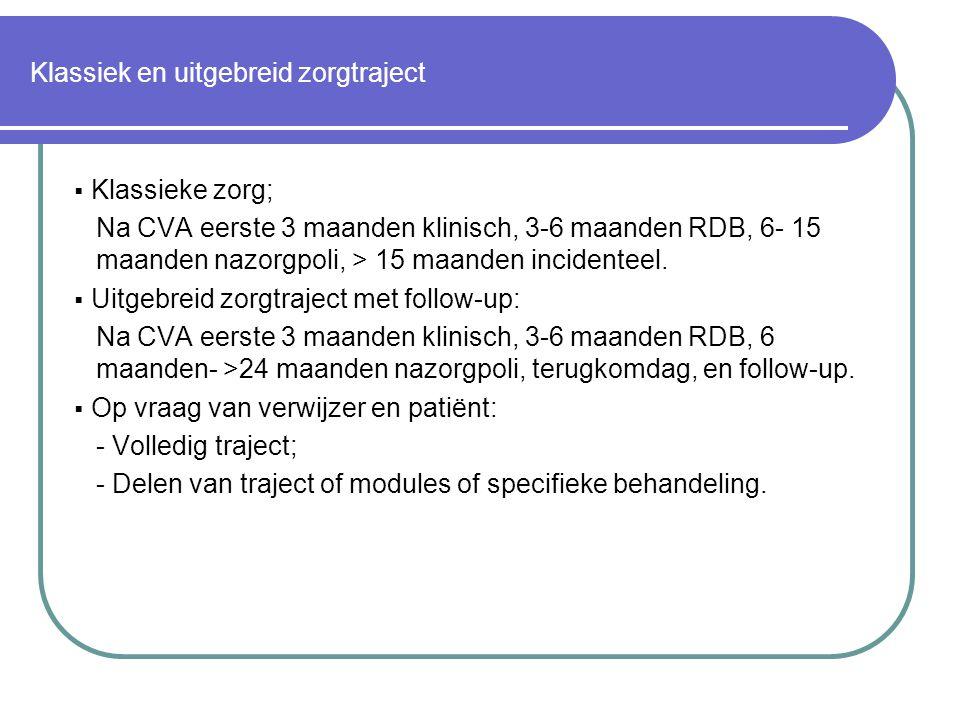 Klassiek en uitgebreid zorgtraject  Klassieke zorg; Na CVA eerste 3 maanden klinisch, 3-6 maanden RDB, 6- 15 maanden nazorgpoli, > 15 maanden incidenteel.