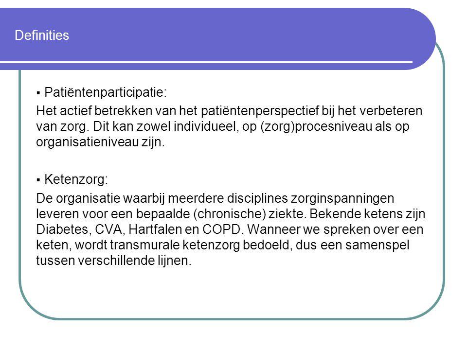 Definities  Patiëntenparticipatie: Het actief betrekken van het patiëntenperspectief bij het verbeteren van zorg. Dit kan zowel individueel, op (zorg