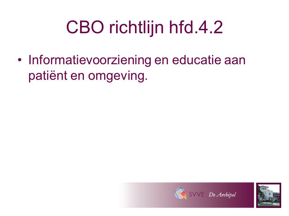 SVVE De Archipel CBO richtlijn hfd.4.2 Informatievoorziening en educatie aan patiënt en omgeving.