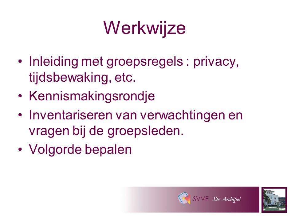 SVVE De Archipel Werkwijze Inleiding met groepsregels : privacy, tijdsbewaking, etc.