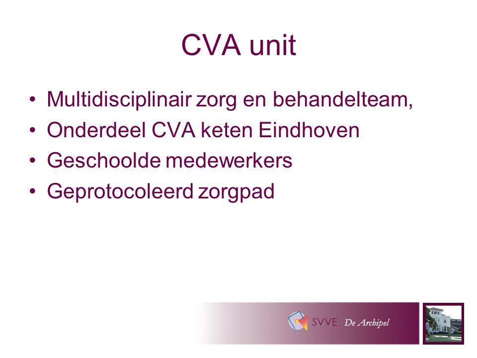 SVVE De Archipel CVA unit Multidisciplinair zorg en behandelteam, Onderdeel CVA keten Eindhoven Geschoolde medewerkers Geprotocoleerd zorgpad