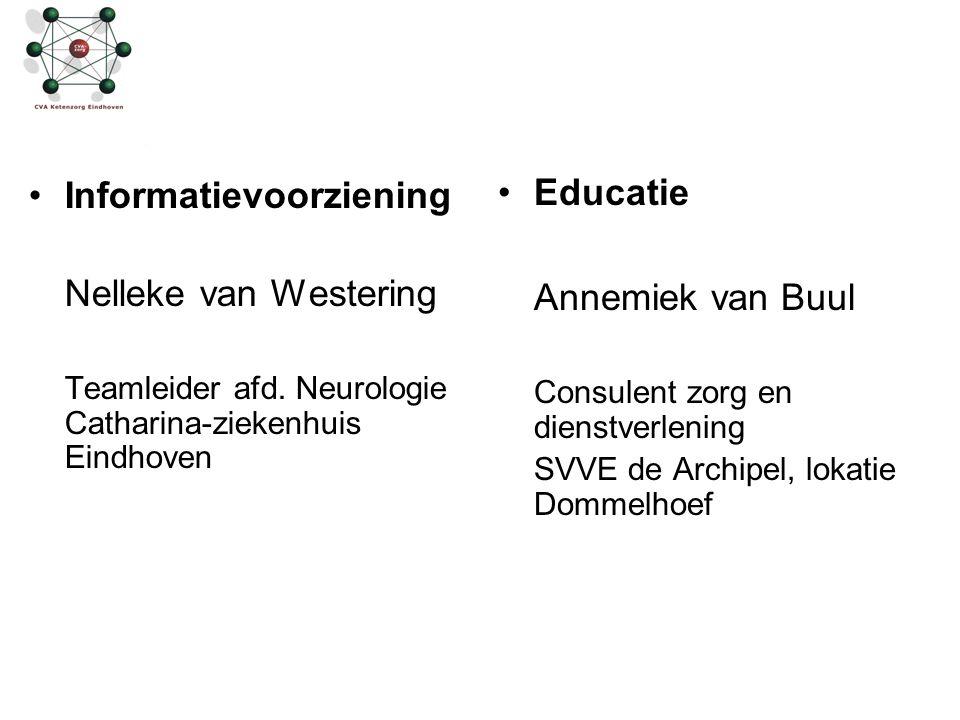 Informatievoorziening Nelleke van Westering Teamleider afd. Neurologie Catharina-ziekenhuis Eindhoven Educatie Annemiek van Buul Consulent zorg en die