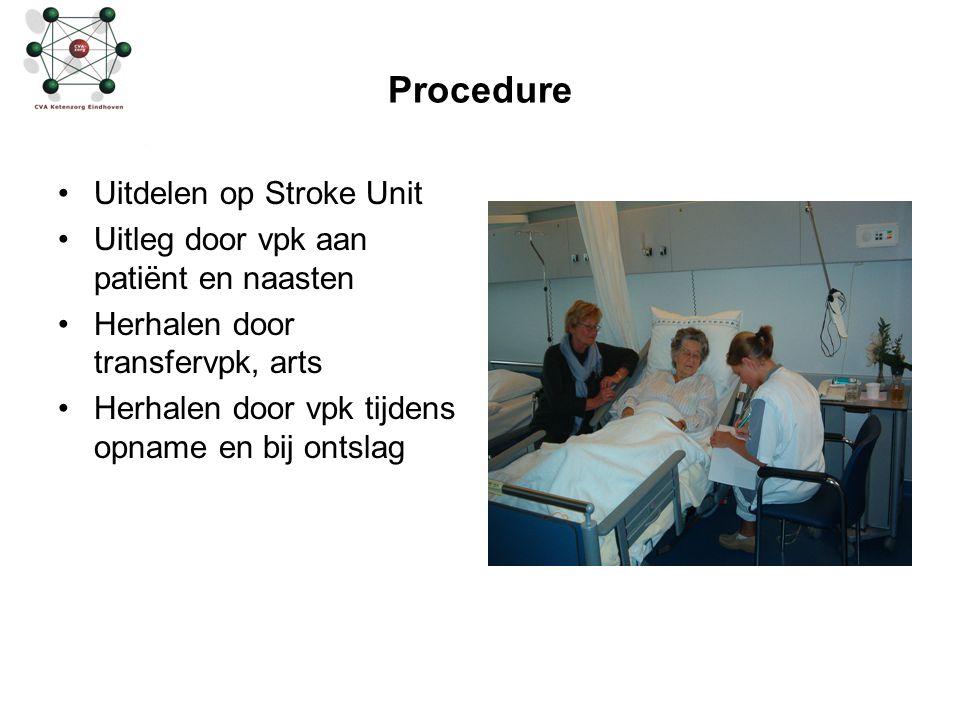 Procedure Uitdelen op Stroke Unit Uitleg door vpk aan patiënt en naasten Herhalen door transfervpk, arts Herhalen door vpk tijdens opname en bij ontsl