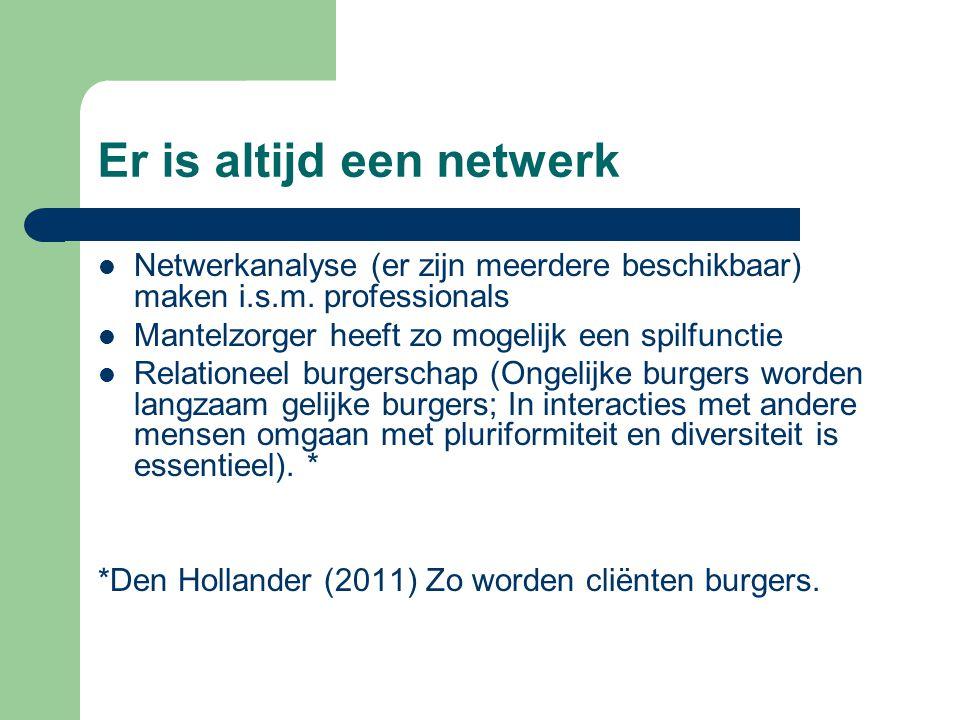 Er is altijd een netwerk Netwerkanalyse (er zijn meerdere beschikbaar) maken i.s.m. professionals Mantelzorger heeft zo mogelijk een spilfunctie Relat