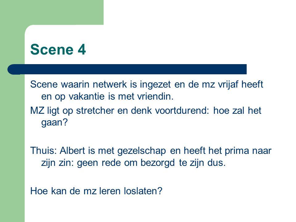 Scene 4 Scene waarin netwerk is ingezet en de mz vrijaf heeft en op vakantie is met vriendin. MZ ligt op stretcher en denk voortdurend: hoe zal het ga