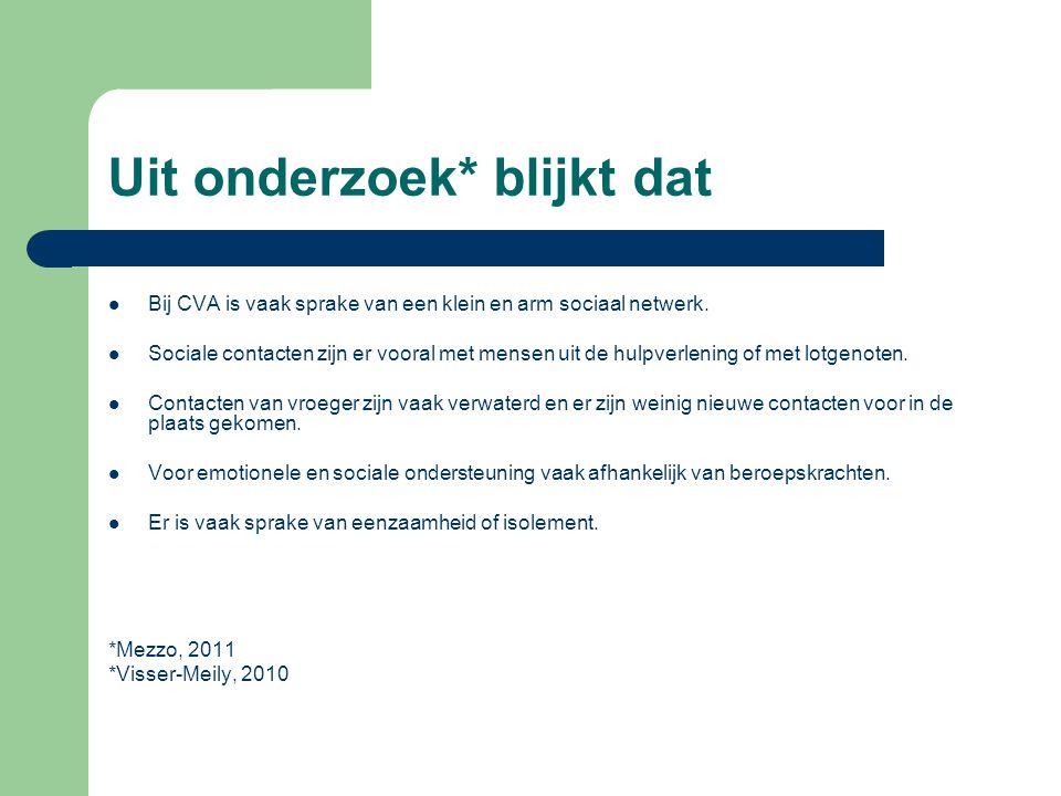 Uit onderzoek* blijkt dat Bij CVA is vaak sprake van een klein en arm sociaal netwerk. Sociale contacten zijn er vooral met mensen uit de hulpverlenin