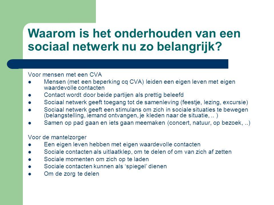 Waarom is het onderhouden van een sociaal netwerk nu zo belangrijk? Voor mensen met een CVA Mensen (met een beperking cq CVA) leiden een eigen leven m