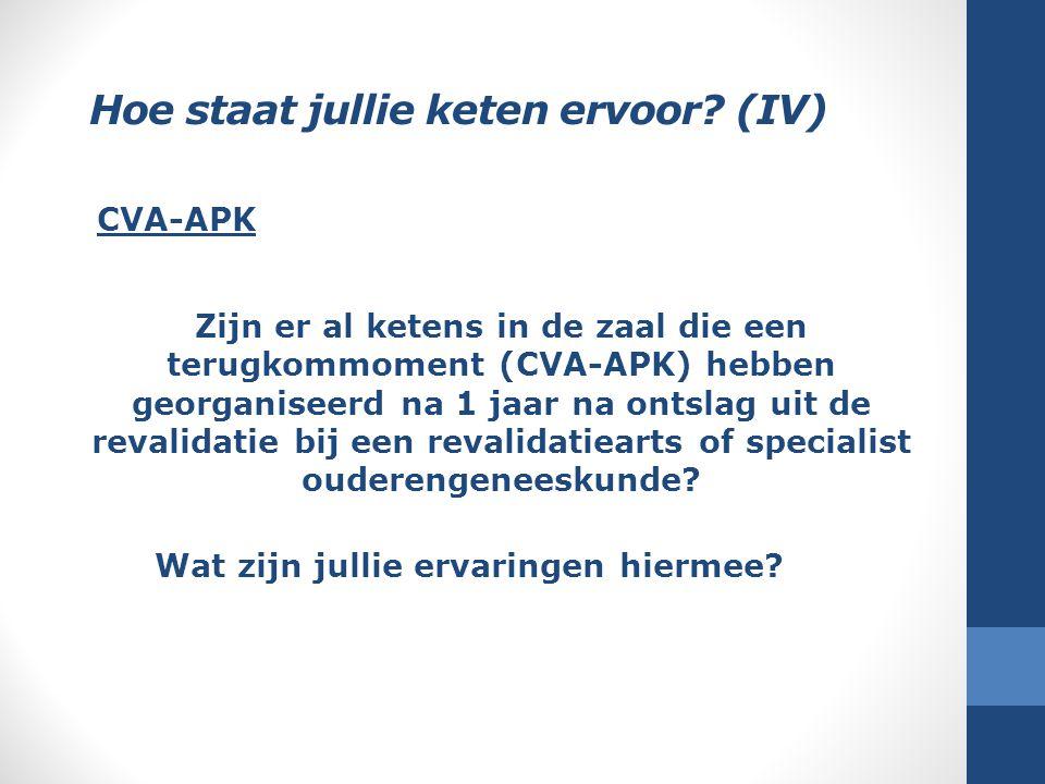 Hoe staat jullie keten ervoor? (IV) Zijn er al ketens in de zaal die een terugkommoment (CVA-APK) hebben georganiseerd na 1 jaar na ontslag uit de rev