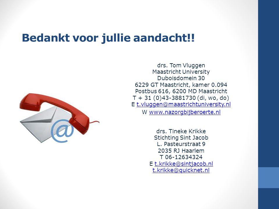 Bedankt voor jullie aandacht!! drs. Tom Vluggen Maastricht University Duboisdomein 30 6229 GT Maastricht, kamer 0.094 Postbus 616, 6200 MD Maastricht