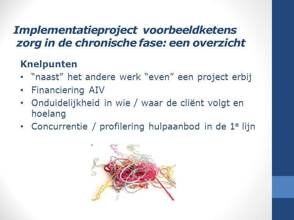 """Implementatieproject voorbeeldketens zorg in de chronische fase: een overzicht Knelpunten """"naast"""" het andere werk """"even"""" een project erbij Financierin"""