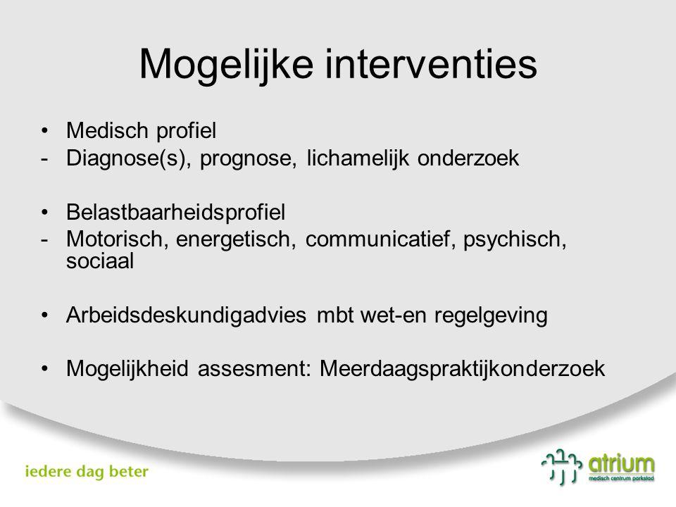 Mogelijke interventies Medisch profiel -Diagnose(s), prognose, lichamelijk onderzoek Belastbaarheidsprofiel -Motorisch, energetisch, communicatief, ps