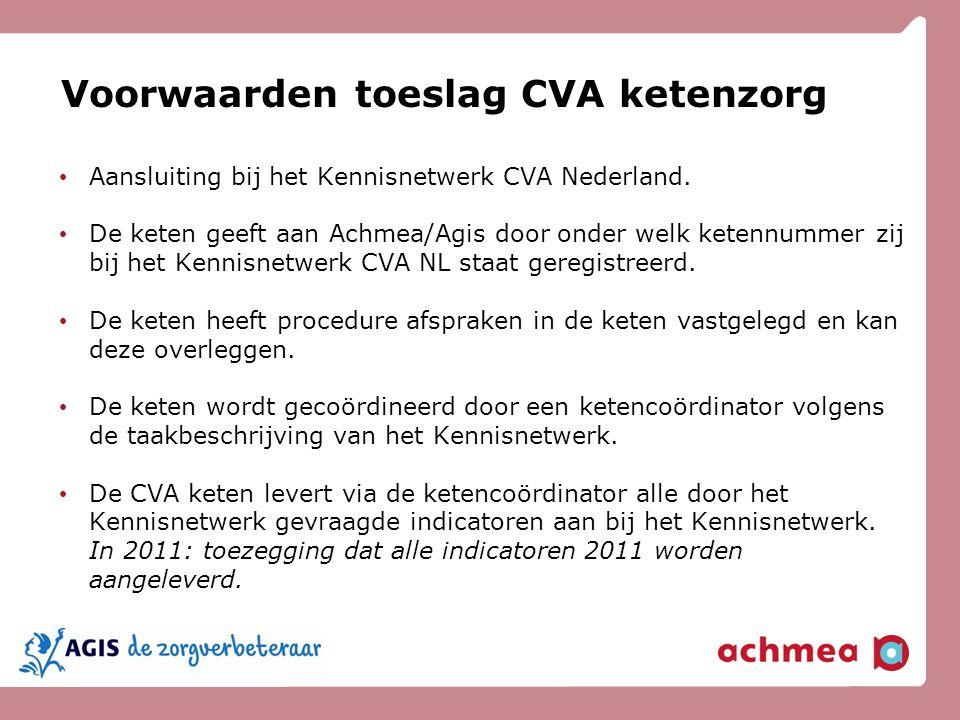 Voorwaarden toeslag CVA ketenzorg Aansluiting bij het Kennisnetwerk CVA Nederland. De keten geeft aan Achmea/Agis door onder welk ketennummer zij bij