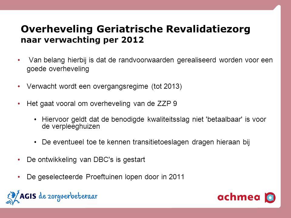 Overheveling Geriatrische Revalidatiezorg naar verwachting per 2012 Van belang hierbij is dat de randvoorwaarden gerealiseerd worden voor een goede ov