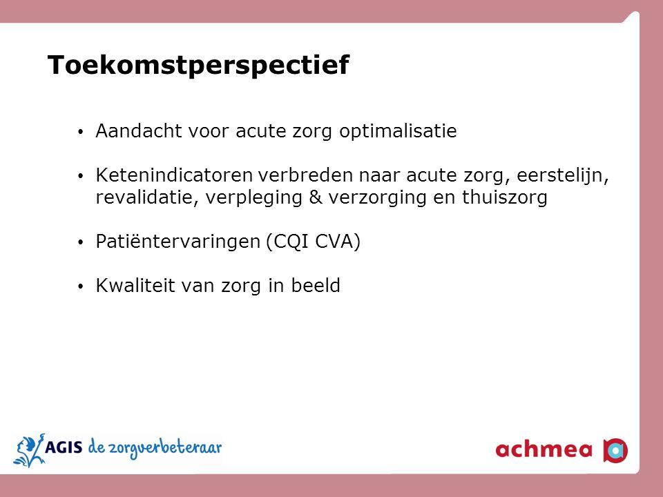 Toekomstperspectief Aandacht voor acute zorg optimalisatie Ketenindicatoren verbreden naar acute zorg, eerstelijn, revalidatie, verpleging & verzorgin