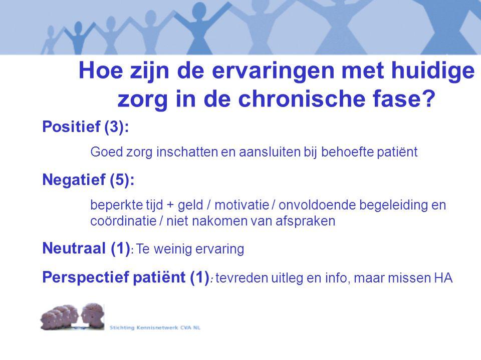 Hoe zijn de ervaringen met huidige zorg in de chronische fase? Positief (3): Goed zorg inschatten en aansluiten bij behoefte patiënt Negatief (5): bep