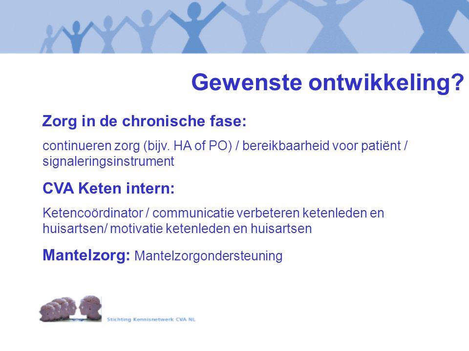 Gewenste ontwikkeling? Zorg in de chronische fase: continueren zorg (bijv. HA of PO) / bereikbaarheid voor patiënt / signaleringsinstrument CVA Keten