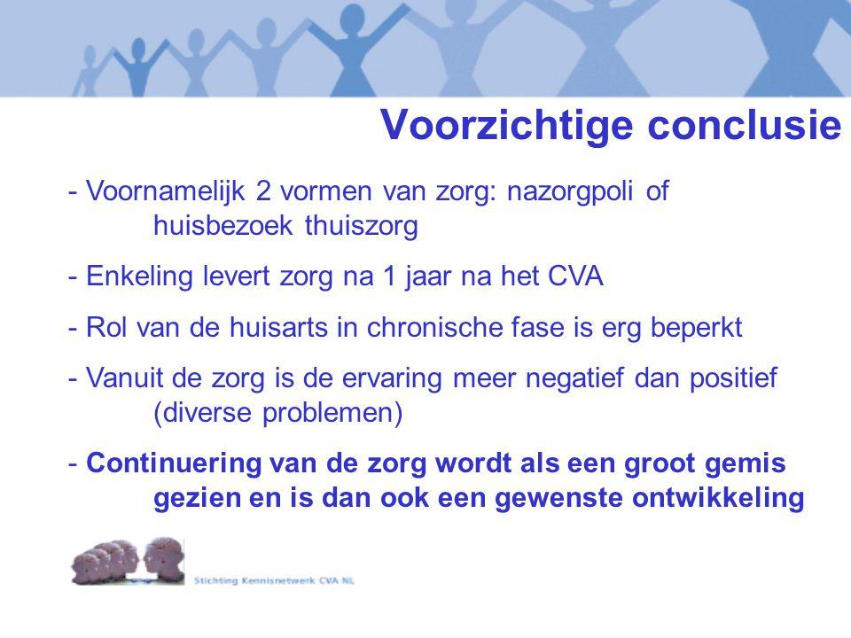 Voorzichtige conclusie - Voornamelijk 2 vormen van zorg: nazorgpoli of huisbezoek thuiszorg - Enkeling levert zorg na 1 jaar na het CVA - Rol van de h