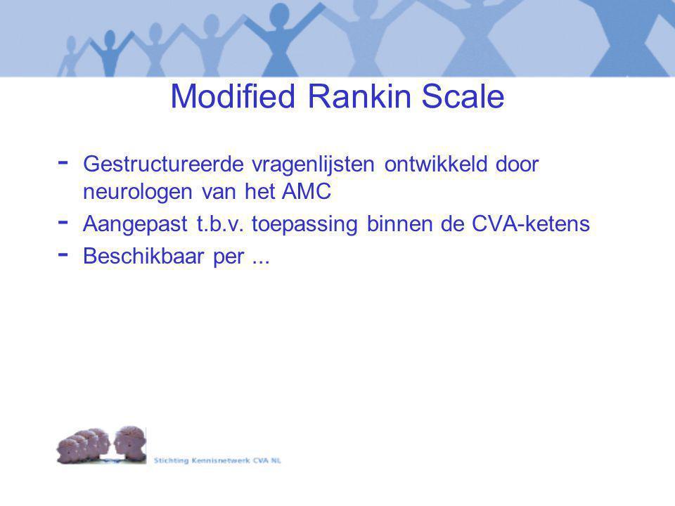Modified Rankin Scale - Gestructureerde vragenlijsten ontwikkeld door neurologen van het AMC - Aangepast t.b.v. toepassing binnen de CVA-ketens - Besc