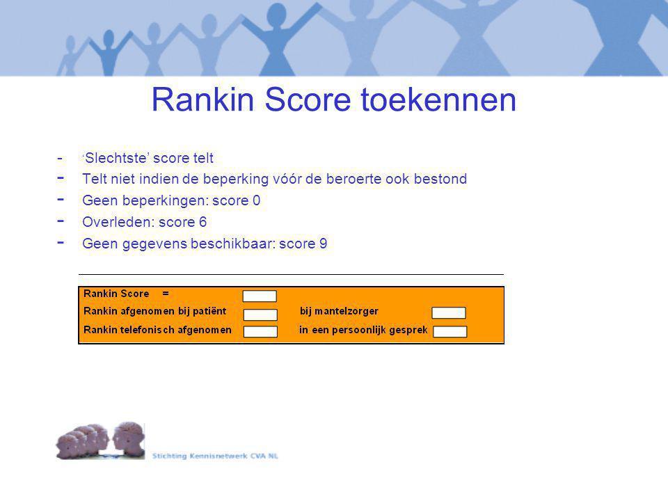 Rankin Score toekennen - ' Slechtste' score telt - Telt niet indien de beperking vóór de beroerte ook bestond - Geen beperkingen: score 0 - Overleden: score 6 - Geen gegevens beschikbaar: score 9
