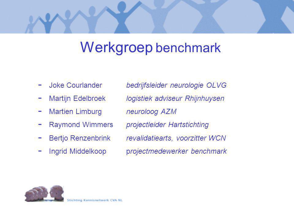 Werkgroep benchmark - Joke Courlanderbedrijfsleider neurologie OLVG - Martijn Edelbroeklogistiek adviseur Rhijnhuysen - Martien Limburgneuroloog AZM -