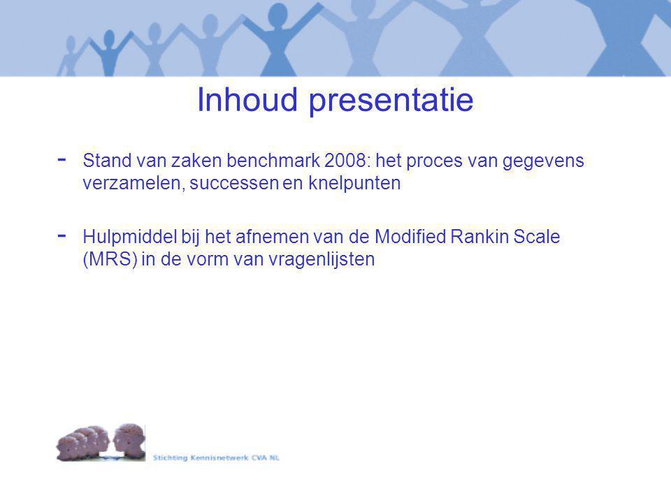 Inhoud presentatie - Stand van zaken benchmark 2008: het proces van gegevens verzamelen, successen en knelpunten - Hulpmiddel bij het afnemen van de M