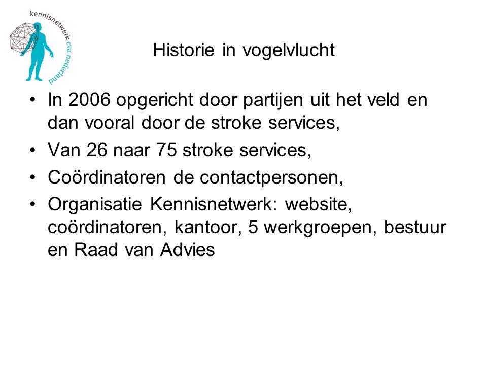 Historie in vogelvlucht In 2006 opgericht door partijen uit het veld en dan vooral door de stroke services, Van 26 naar 75 stroke services, Coördinato