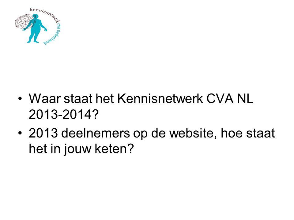 Waar staat het Kennisnetwerk CVA NL 2013-2014? 2013 deelnemers op de website, hoe staat het in jouw keten?