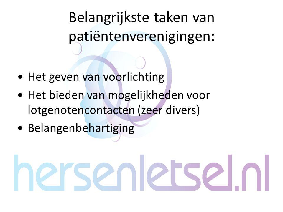 Belangrijkste taken van patiëntenverenigingen: Het geven van voorlichting Het bieden van mogelijkheden voor lotgenotencontacten (zeer divers) Belangen