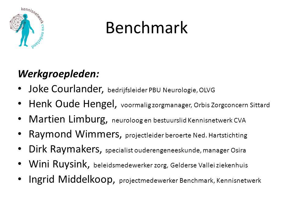 Benchmark Werkgroepleden: Joke Courlander, bedrijfsleider PBU Neurologie, OLVG Henk Oude Hengel, voormalig zorgmanager, Orbis Zorgconcern Sittard Mart