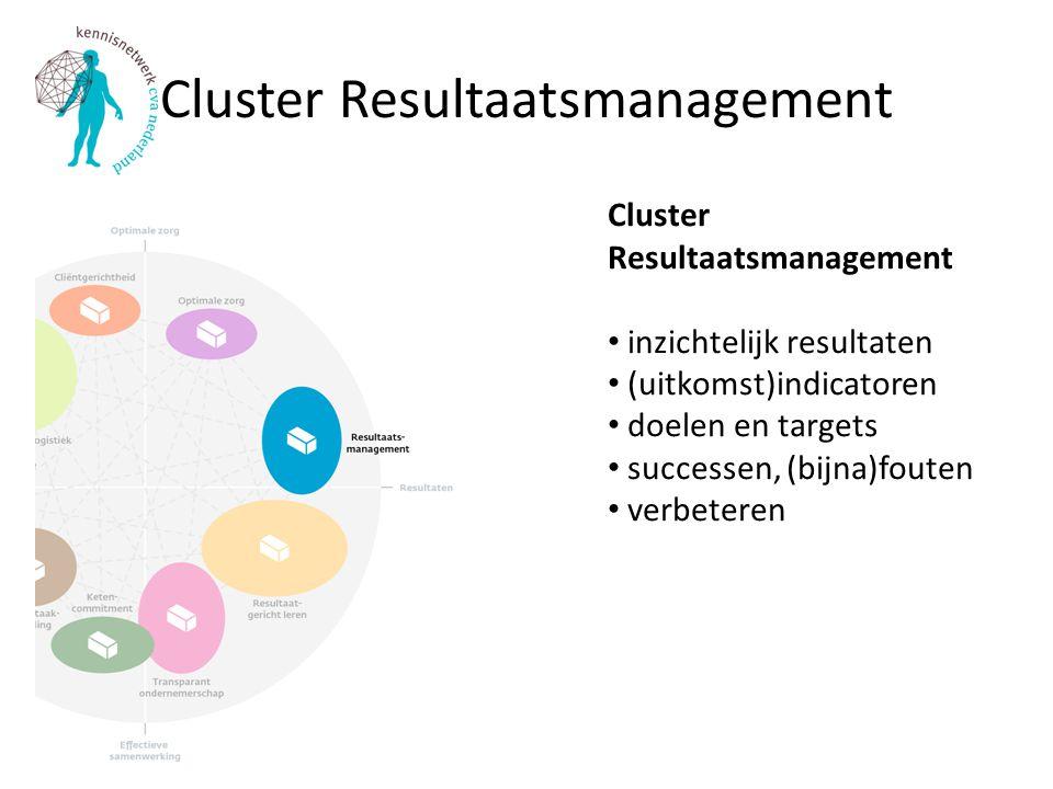 Cluster Resultaatsmanagement Cluster Resultaatsmanagement inzichtelijk resultaten (uitkomst)indicatoren doelen en targets successen, (bijna)fouten verbeteren