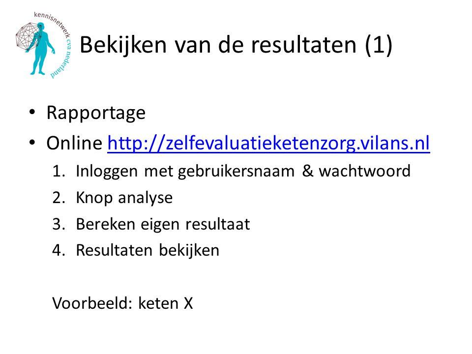 Bekijken van de resultaten (1) Rapportage Online http://zelfevaluatieketenzorg.vilans.nlhttp://zelfevaluatieketenzorg.vilans.nl 1.Inloggen met gebruikersnaam & wachtwoord 2.Knop analyse 3.Bereken eigen resultaat 4.Resultaten bekijken Voorbeeld: keten X