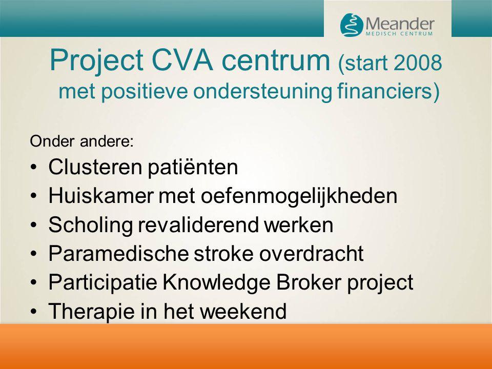 Project CVA centrum (start 2008 met positieve ondersteuning financiers) Onder andere: Clusteren patiënten Huiskamer met oefenmogelijkheden Scholing re